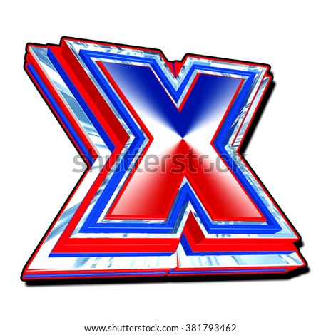 UK red white and blue vote X cross symbol in 3D with reflective design isolated on a white background