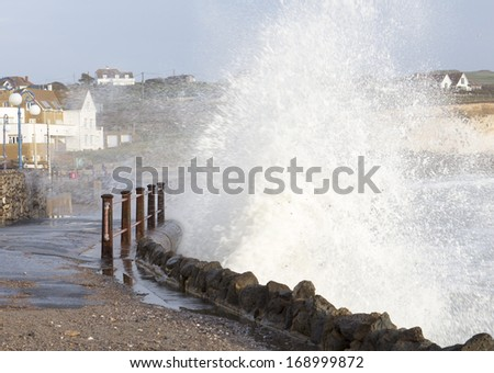 UK Storm surge at Freshwater Bay Isle of Wight Hampshire - stock photo