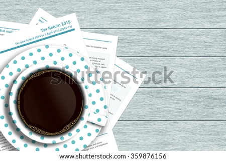 UK tax form with coffee lying on wooden desk with place for text - stock photo