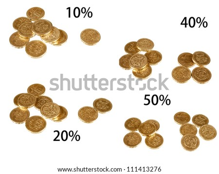 UK taxation percentages, coins isolated over white - stock photo