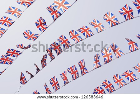 UK Union flag bunting flapping in the wind