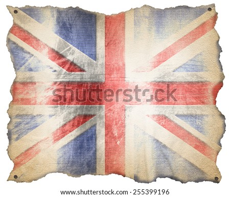 UK Weathered Flag. Weathered UK flag on a old brown parchment with nails. Isolated on white background - stock photo