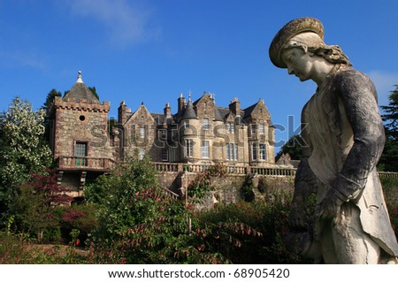 UK Western Scotland Isle of Mull Torosay Castle - Victorian Scottish baronial style architecture and Italian Renaissance style garden - stock photo