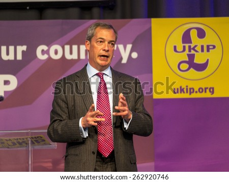 UKIP Leader Nigel Farage at a party rally in Derby, UK. taken 01/05/2014 - stock photo