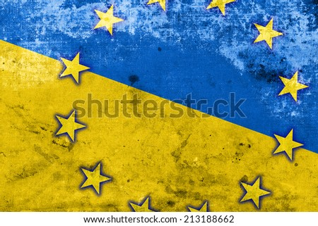 Ukraine and EU Flag with a vintage and old look