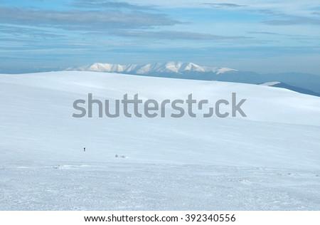Ukraine, Carpathian Mountains, the ridge Polonyna Rune, winter - stock photo