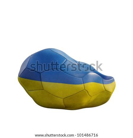 ukraine deflated soccer ball isolated on white - stock photo