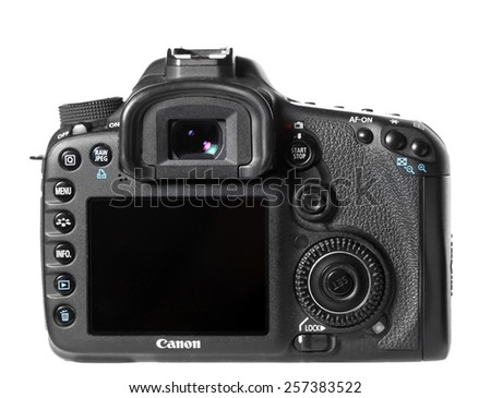Ukraine, Donetsk - February 2, 2015: The digital camera of the EOS Canon 7D on a white background