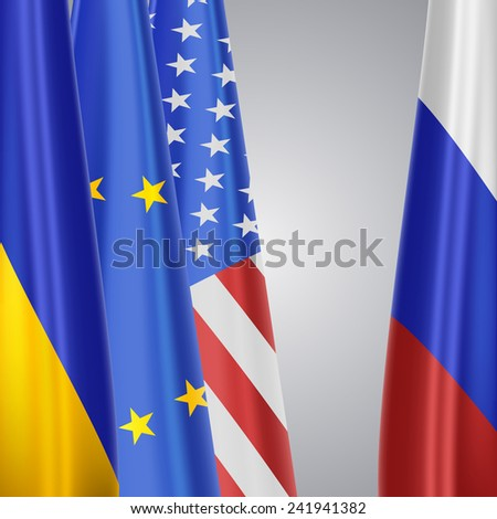 Ukraine&EU&USA vs Russia - stock photo