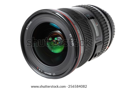 Ukraine - February 26,2015.Provessionalny zoom lens , the company Canon, isolated on white fone.Foto for editorial use.