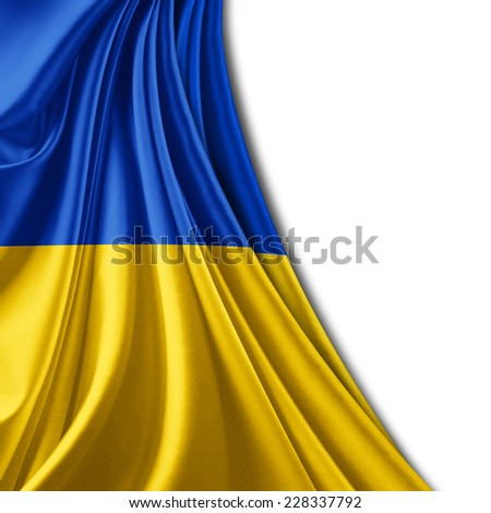 Ukraine flag and white background - stock photo