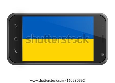 Ukraine flag on smartphone screen isolated on white - stock photo