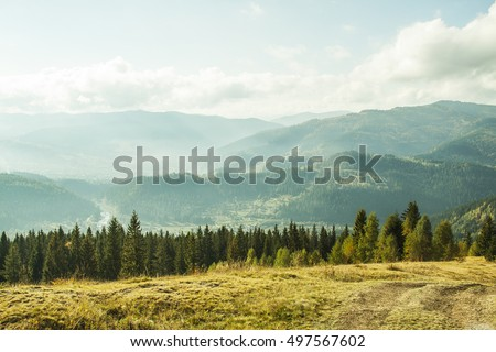 Ukraine Karpaty mountain village against the backdrop of the Hutsul mountaineers deciduous and coniferous forests and wildlife are beautiful picturesque traditional like in the old days