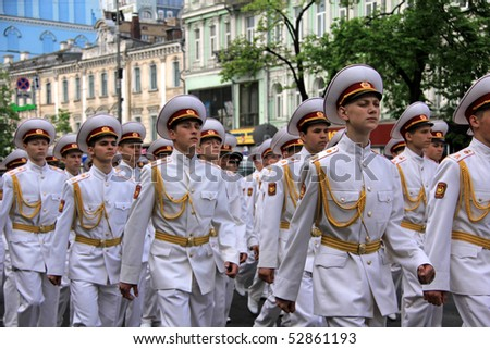 UKRAINE, KIEV - MAY 9: Ceremonial parade at Kiev main street - Khreshchatyc - dedicated to the 65th Anniversary of victory in Great Patriotic War (World War II). Parade of victory. May 9, 2010 Kiev.