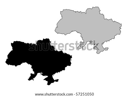 Ukraine map. Black and white. Mercator projection. - stock photo