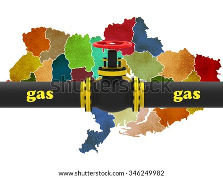 Ukraine map with gas pipe - stock photo