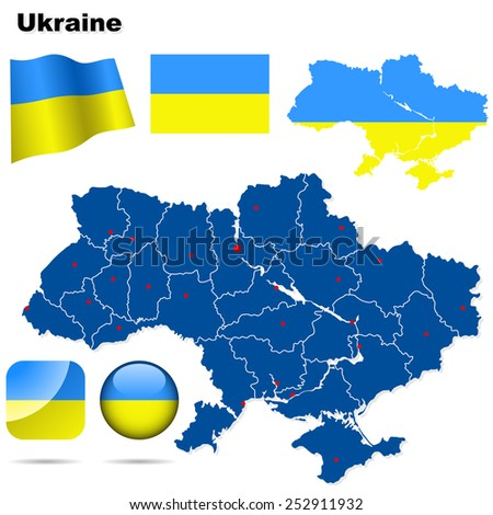Ukraine set. Detailed country shape with region borders, flags and icons isolated on white background. - stock photo