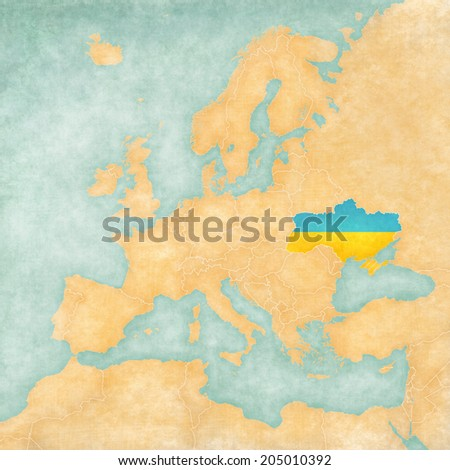Ukraine (Ukrainian flag) on the map of Europe. The Map is in vintage summer style and sunny mood. The map has a soft grunge and vintage atmosphere, which acts as watercolor painting on old paper. - stock photo