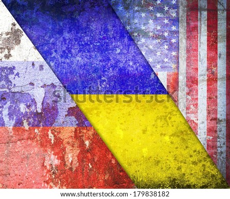 Ukraine, United States America,Russia flag grunge vintage retro style - stock photo