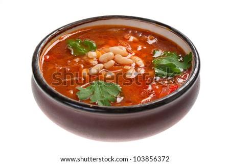 "Ukrainian and russian national red soup ""borsch"" closeup - stock photo"