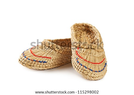 Ukrainian braided sandals isolated on a white background