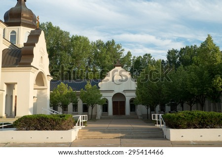 ukrainian church architecture of baroque style and courtyard with stairs and side entrance - stock photo
