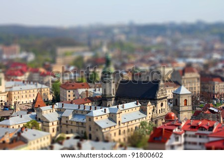 Ukrainian city of Lvov from above - stock photo