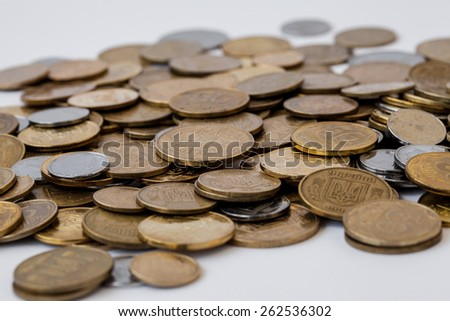Ukrainian coins close up as background - stock photo