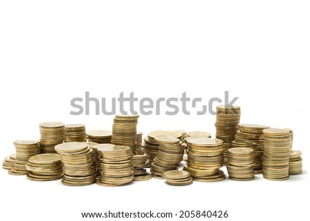 Ukrainian Coins On White Background - stock photo