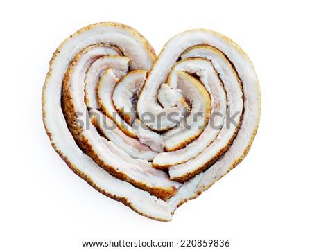Ukrainian lard  in the form of heart - stock photo