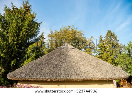 Ukrainian thatched roof - stock photo