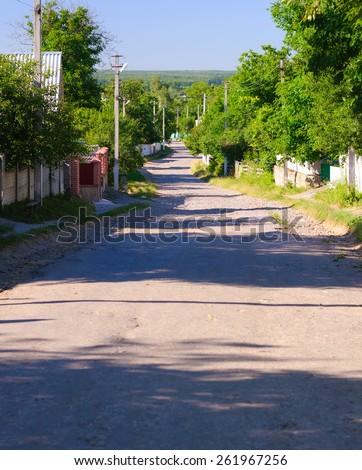 ukrainian village street - stock photo