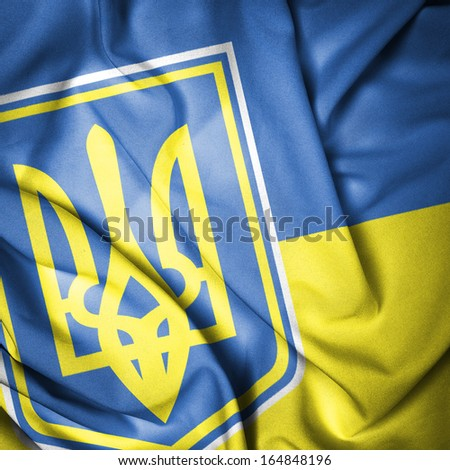 Ukrainian Waving Flag - stock photo