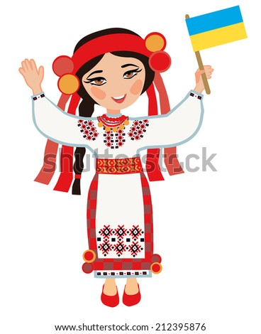 Ukrainian woman with the flag of Ukraine on a white background - stock photo