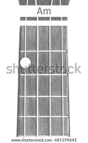 Ukulele Chord Minor On White Background Stock Photo Royalty Free