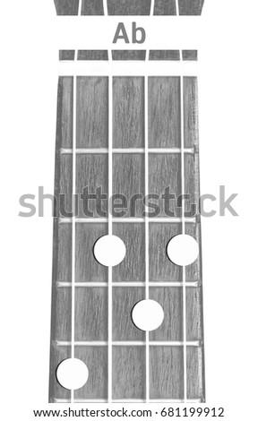 Ukulele Chord Ab On White Background Stock Photo (Royalty Free ...