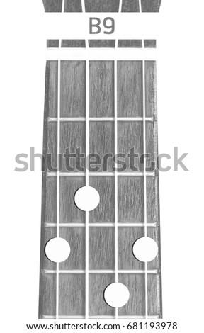 Ukulele Chord B 9 On White Background Stock Photo Royalty Free