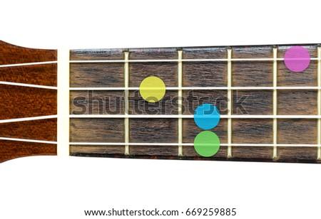Ukulele Chord Eb Minor Major 7 Stock Photo Edit Now 669259885