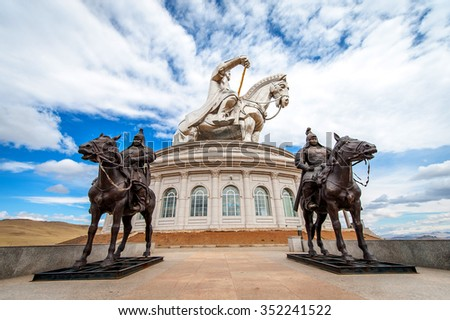 Ulan-Bator,Mongolia - May 17, 2015: The world's largest statue of Chinghis Khan