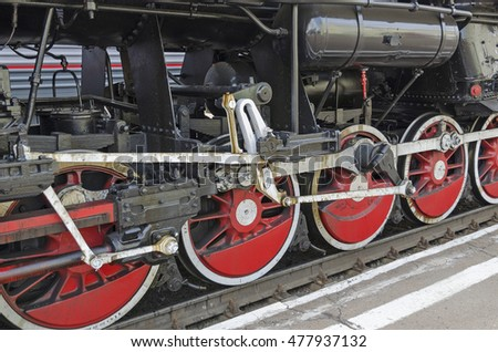 Ulan-Ude, RUSSIA - July, 16 2014: Wheels of old vintage steam locomotive Ea series on the station in Buryatia Republic, Russia