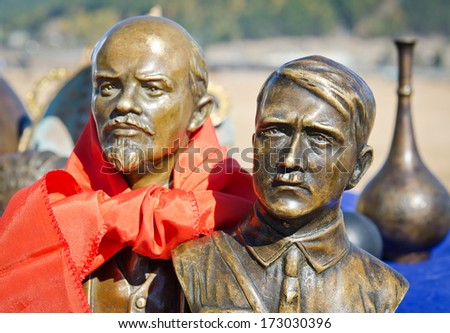 ULAN-UDE, RUSSIA - NOV 24, 2012: Flea Market, bronze busts of Adolf Hitler and Vladimir Lenin in November 24, 2012 in Ulan-Ude, Russia. The volume of Russian antiques market - $ 700 million per year. - stock photo