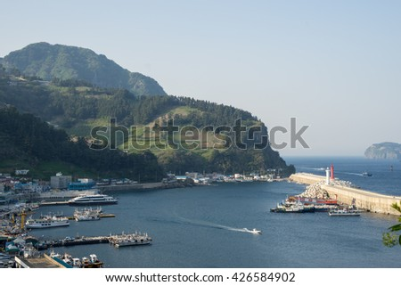 Ulleungdo Island South Korea. May 2016. Jeodong Port landscape.