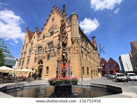 ULM, GERMANY - May 24: Medieval city of Ulm on May 24, 2011 in Ulm, Germany.  Albert Estein was born in the city and a musem has been built for this famous scientist and  theoretical physicist.