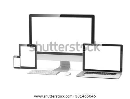 Ultimate web design, laptop, smartphone, tablet, computer, display - stock photo