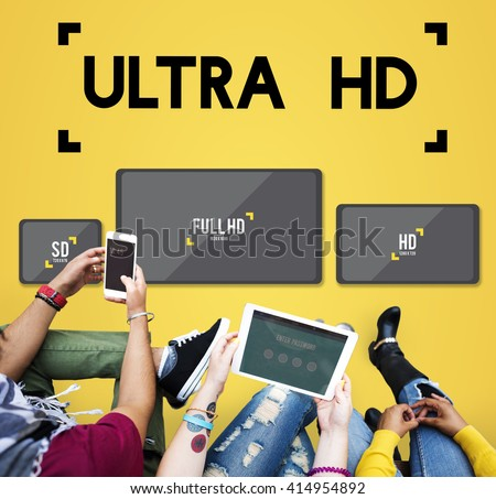 Ultra HD Definition Monitor Resolution Screen Concept - stock photo