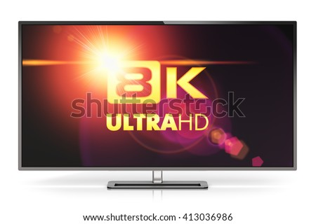Ultra high definition digital television screen technology concept: 3D render illustration of 8K UltraHD resolution TV cinema or computer PC monitor display isolated on white reflective background - stock photo