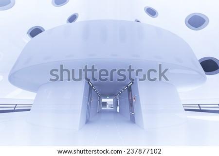 Ultra Modern Futuristic Building Coridor Illustration 3D artwork - stock photo