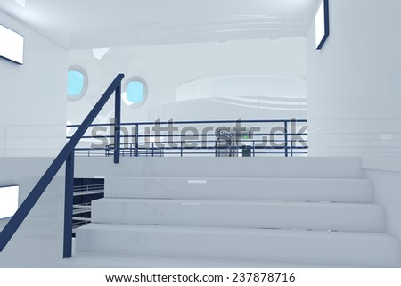 Ultra Modern Futuristic Building Emergency Staircase Illustration 3D artwork