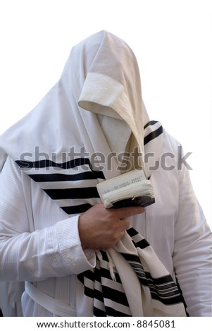 Ultra-orthodox in the white, that is prayed in western wall in Jerusalem(isolated). - stock photo