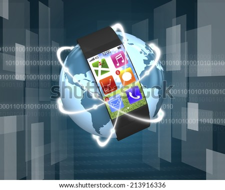 ultra-thin bent interface smart watch and glowing orbit on globe tech-digital background - stock photo
